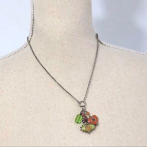 Brighton Green and Orange Hearts Pendant Necklace